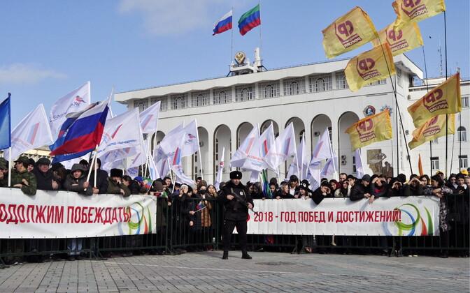 Ametlik meeleavaldus võimude toetuseks Dagestani pealinnas Mahatškalas.