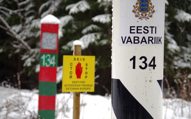 Border markers along Estonia's eastern border with Russia.