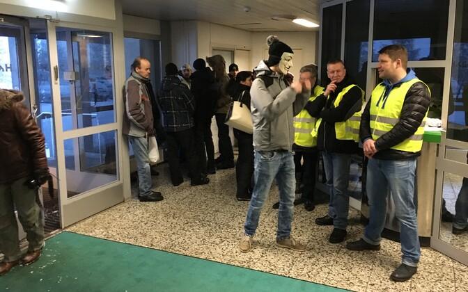 Первый день забастовки на Раквереском мясокомбинате 6 февраля.