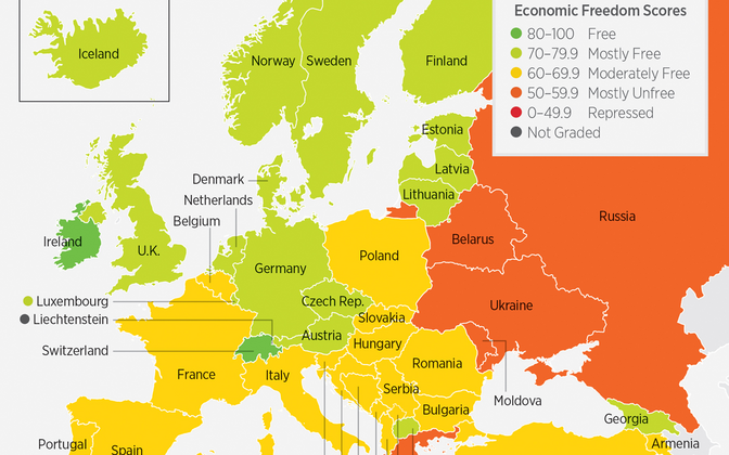 Map displaying economic freedom rankings in Europe in 2018.