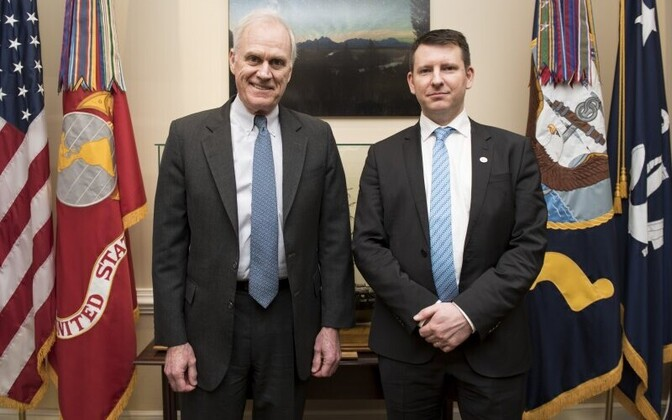 U.S. Secretary of the Navy Richard V. Spencer with Secretary General of the Ministry of Defence Jonatan Vseviov met in Washington this week. Feb. 7, 2018.