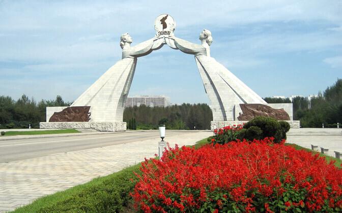 Арка Воссоединения, построенная в Пхеньяне в 1970-е годы в честь трех деклараций о принципах объединения Северной и Южной Кореи.