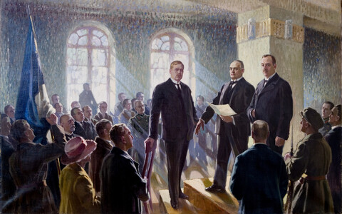 """The Proclamation of the Republic of Estonia 24. II 1918,"" by Maximilian Feichter Maksolly, depicting Salvation Committee members Päts, Vilms and Konik."