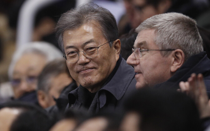 Lõuna-Korea president Moon Jae-in ja ROK-i president Thomas Bach