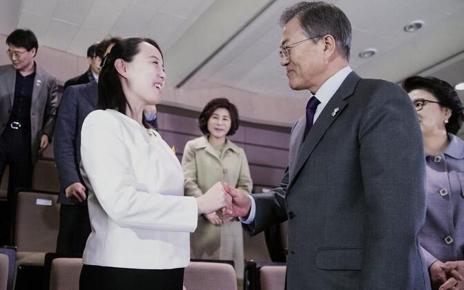 Diktaator Kim Jong-uni õde Kim Yo-jong ning Lõuna-Korea president Moon Jae-in 11. veebruaril Soulis.