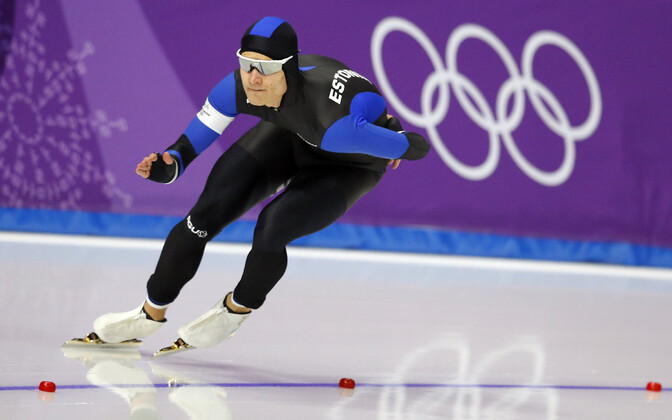 Estonian speed skater Marten Liiv competing in the men's 1500m speed skating event in Pyeongchang.