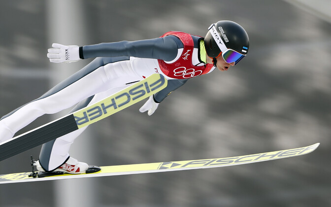 Estonian Olympian Kristjan Ilves competing in the Nordic combined on Wednesday. Feb. 14, 2018.
