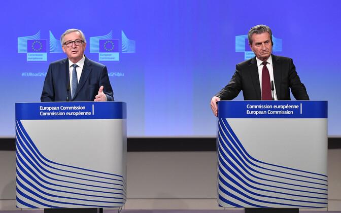 Jean-Claude Juncker ja Günther Oettinger kolmapäeval Brüsselis.