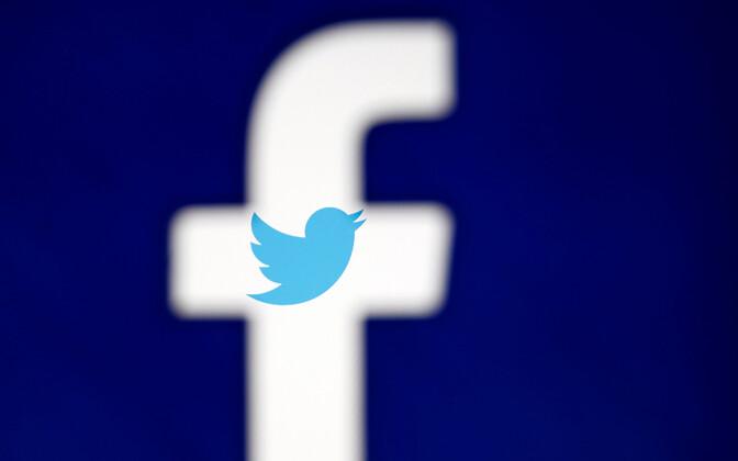 Facebooki ja Twitteri logod.