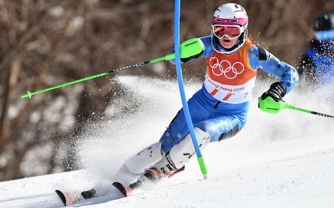 Alpine skier Anna Lotta Jõgeva competing in Pyeongchang. Feb. 2018.