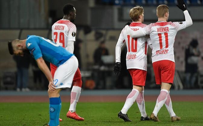 RB Leipzig alistas jalgpalli Euroopa liiga 1/16-finaalis Napoli 3:1.