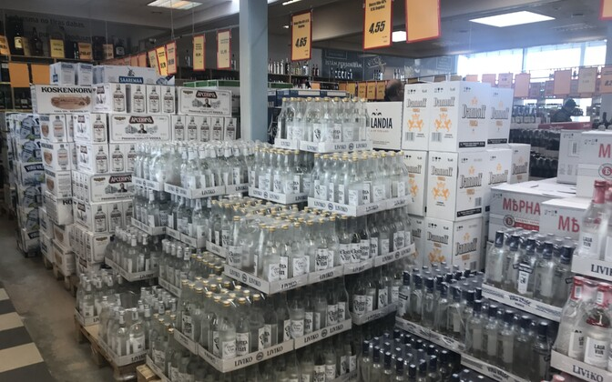 Alcohol for sale in Valka, on the Latvian-Estonian border