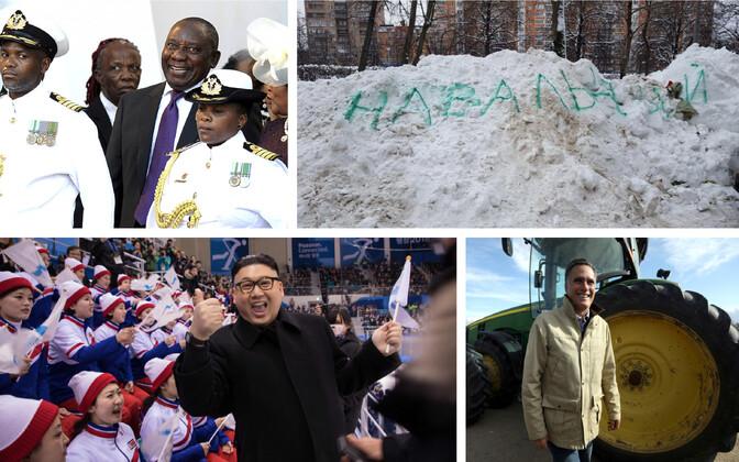 LAV-i uus president rõõmustamas (AP), lumekoristust tekitav võlusõna Moskvas (Varvara Gryaznova/Twitter@superarka), Kim Jong-uni kehastaja Põhja-Korea ergutuskoori ehmatamas (AFP), Romney farmi külastamas (Reuters).