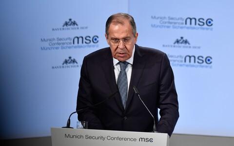 Министр иностранных дел России Сергей Лавров на Мюнхенской конференции.