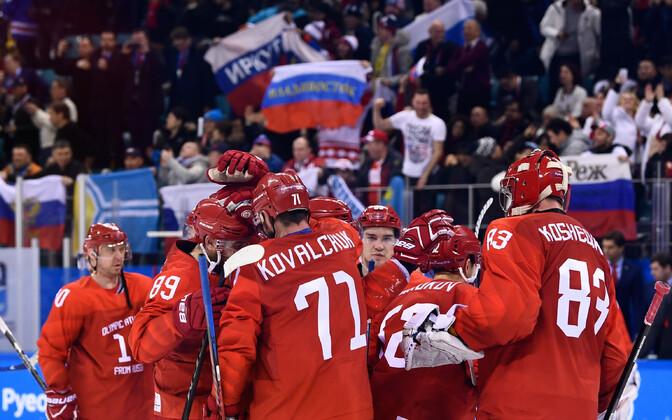 Российские хоккеисты на Олимпиаде.