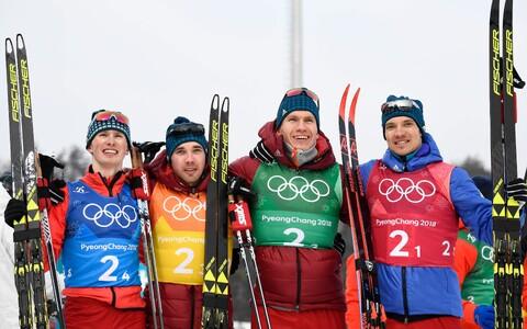 Российские лыжники Денис Спицов, Алексей Червоткин, Александр Большунов, Андрей Ларьков.