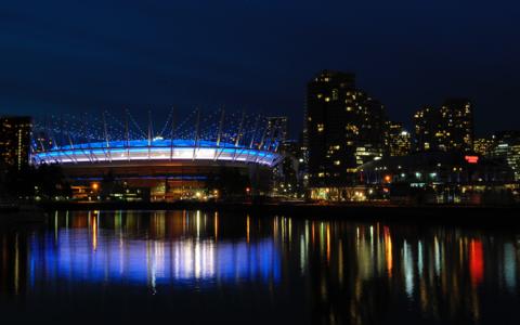 Vancouveri BC Place staadion sinimustvalgetes värvides