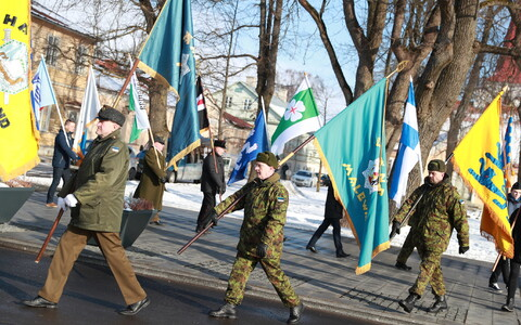 Haapsalu's new flag square was opened with a special ceremony in honor of Estonia's centennial week on Tuesday. Feb. 20, 2018.