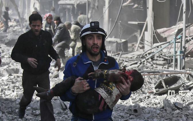 Olukord Ida-Ghoutas pärast 19. veebruari Süüria valitsusväe õhurünnakuid.