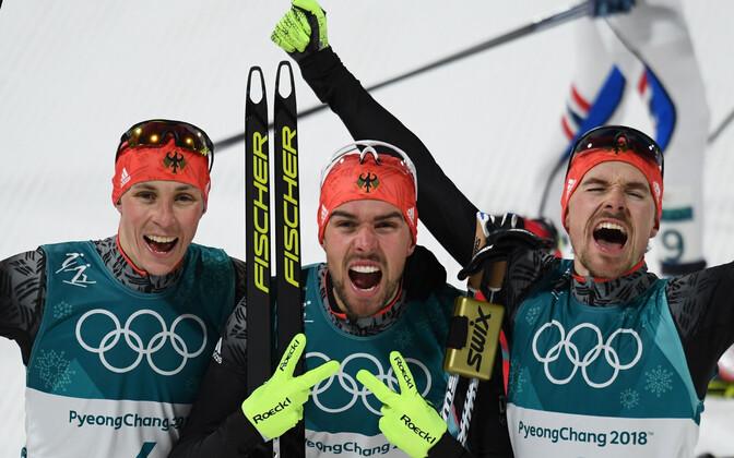 Võidukas Saksamaa kolmik: Eric Frenzel, Johannes Rydzek, Fabian Riessle