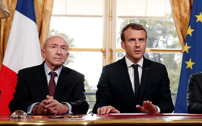 Siseminister Gerard Collomb ja president Emmanuel Macron.
