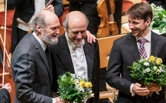 Arvo Pärt (left) at the Baltikum festival in Berlin.