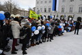 Estonian centennial celebration in Narva's Town Hall Square on Wednesday. Feb. 21, 2018.