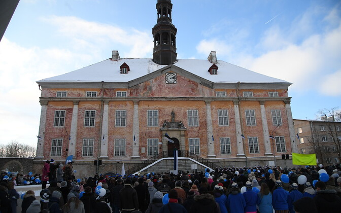 Праздник на ратушной площади в Нарве.