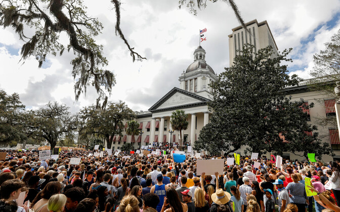 In the wake of a deadly school shooting in Parkland, protesters in front of the Capitol in Tallahassee, Florida, urge lawmakers to reform gun control laws. Feb. 21, 2018.