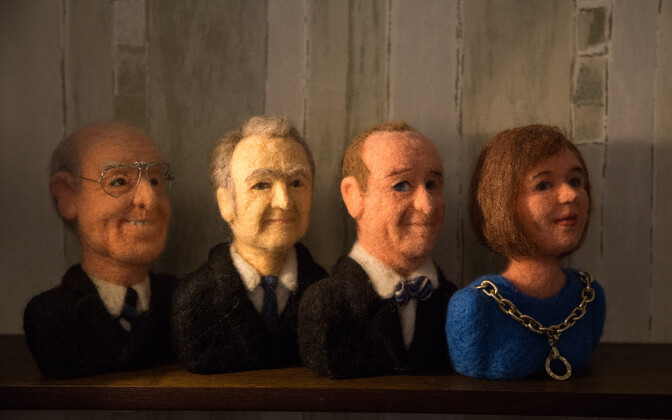 Artist Karin Pihlik's heads of presidents, made out of felt.