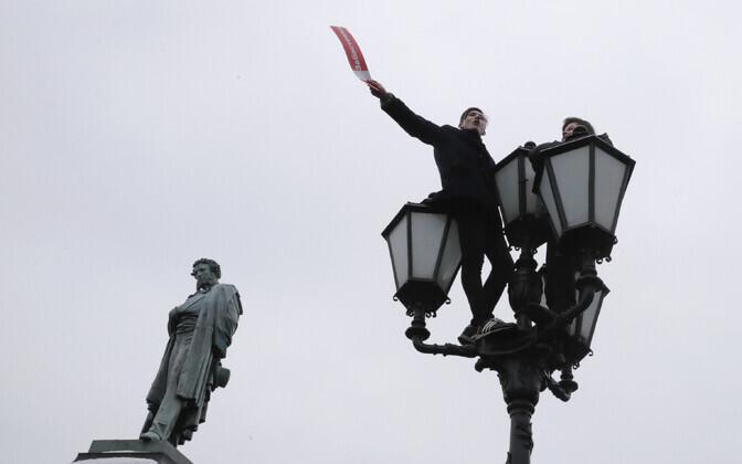 Navalnõi toetajad Moskvas 28. jaanuari meeleavalduse ajal.