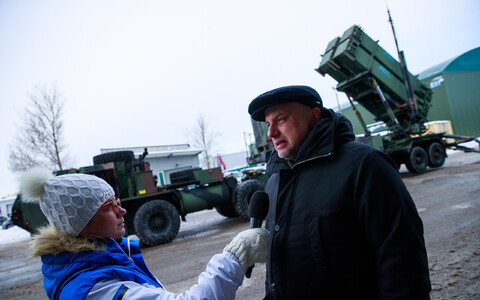 Defence Minister Jüri Luik (IRL) at the presentation of the Patriot missile system, February 2018.