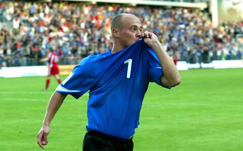 Maksim Smirnov tähistamas Lätile löödud väravat.