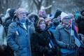 Festive flag-raising ceremony at Tall Hermann Tower in Tallinn on Saturday morning. Feb. 24, 2018.