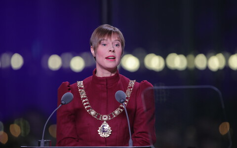 President Kersti Kaljulaid speaking at the 2018 Independence Day reception.