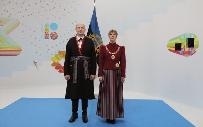 Президент Керсти Кальюлайд и Георги-Рене Максимовски на торжественном приеме.
