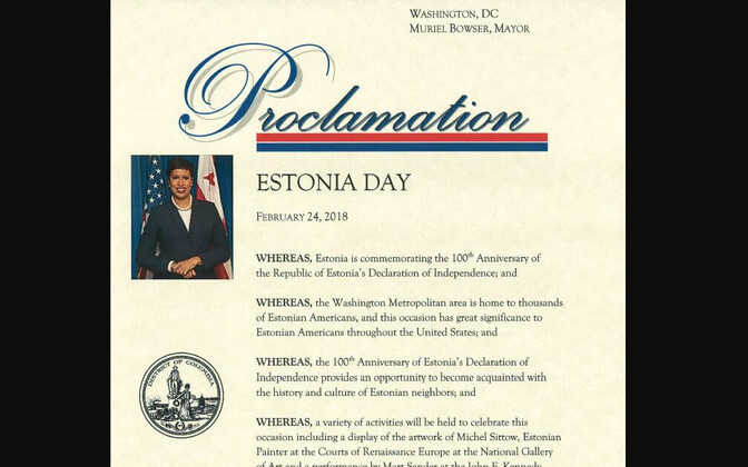In honor of the Estonian centennial, Washington D.C. Mayor Muriel Bowser declared Feb. 24, 2018