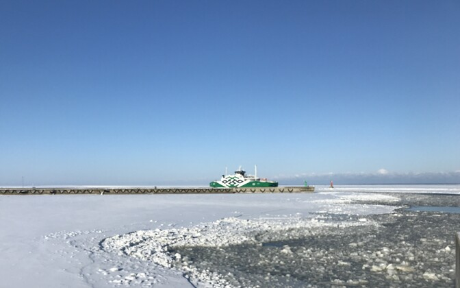 The ferry Leiger at the Port of Rohuküla on Tuesday morning. Feb. 27, 2018.