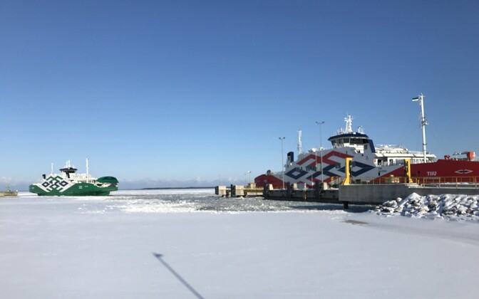 Ferries at the Port of Rohuküla on Tuesday morning. Feb. 27, 2018.