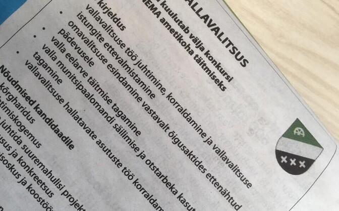 Konkursi kuulutus ajalehes.