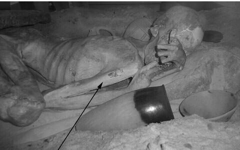 Egiptuse mehe tätoveeringud infrapunavalguses.