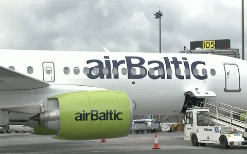 An Airbaltic plane at Tallinn Airport.