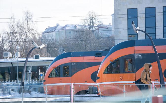 Elron trains at Tallinn's Baltic Station.