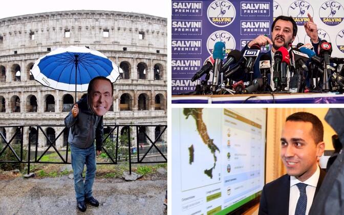 Koomik Berlusconi maskiga (Reuters), Põhja Liiga juht Matteo Salvini (SIPA) ja Viie Tähe Liikumise juht Luigi Di Maio (Reuters).