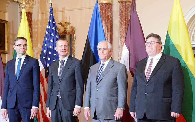 The Baltic foreign ministers with U.S. Secretary of State Rex Tillerson in Washington, Mar. 5, 2018.