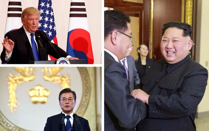 USA president Donald Trump (AFP); Lõuna-Korea president Moon Jae-in; Kim Jong-un Lõuna-Korea delegatsiooniga kohtumas (KCNA/AFP).