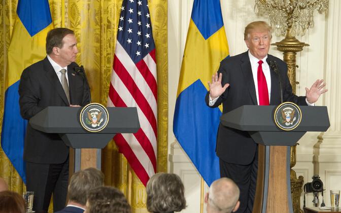 Stefan Löfven ja Donald Trump ühisel pressikonverentsil Valges Majas.