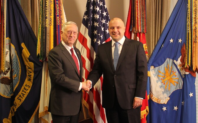Minister of Defence Jüri Luik (IRL) met with U.S. Secretary of Defense James N. Mattis in Washington on Wednesday. March 7, 2018.
