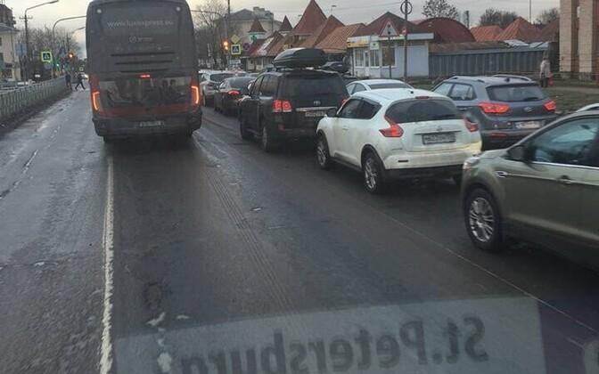 Пробка перед границе в Ивангороде 2 января 2018 года.