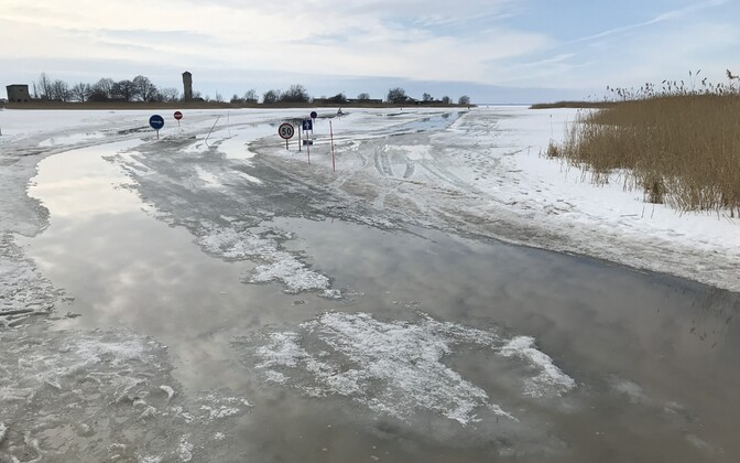 All ice roads in Estonia were closed as warmer temperatures caused surface ice to melt.